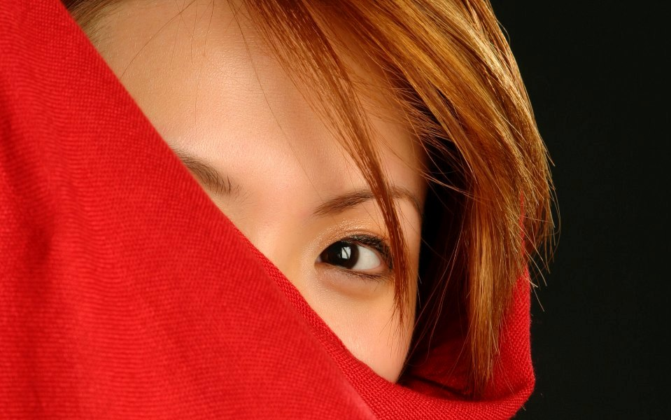 female in red