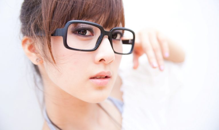 female with glasses