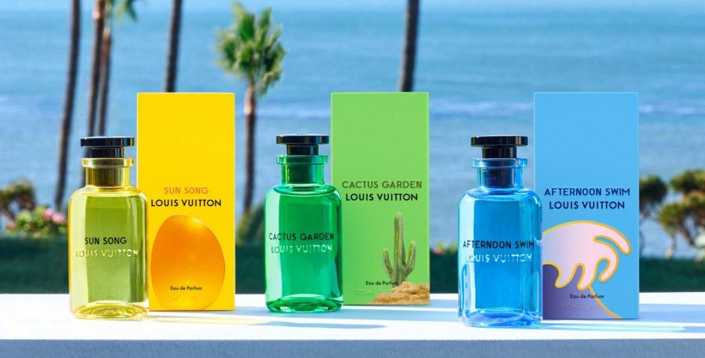 cologne bottles against palm trees backdrop