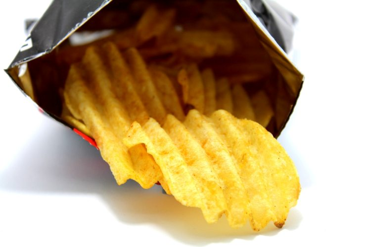 a packet of potato chips