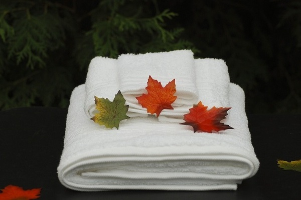 fresh towels with maple leaves