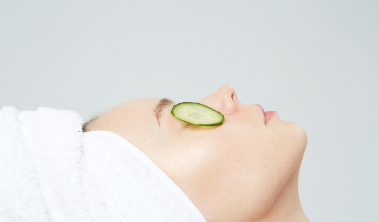 cucumber slices as eye mask