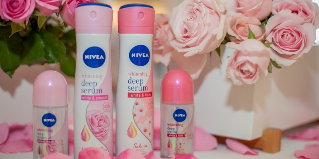 NIVEA Whitening Deep Serum Deodorants surrounded by roses